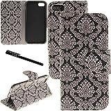(US) iPhone 7 Plus / 8 Plus Case, Urvoix Card Holder Stand Leather Wallet Case - Floral Totem Flip Cover for 5.5