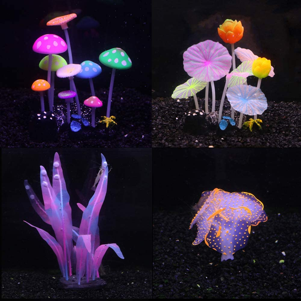 CunMei Aquarium Decorations, Glowing Coral Ornaments for Fish Tank Decorations, with Glow Mushroom Lotus Kelp and Anemone Decor 4 Pack