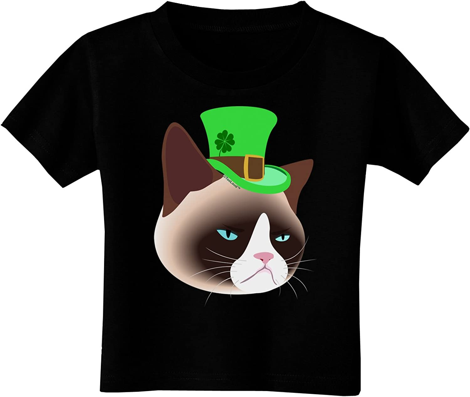 TOOLOUD Leprechaun Disgruntled Cat Toddler T-Shirt Dark