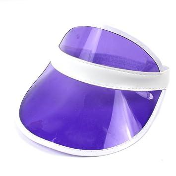 ViewHuge - Sombreros de Visera vacíos de plástico PVC Transparente Color  Caramelo para Sombrero de Sol 6aa08715477