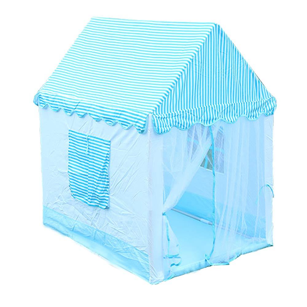 YHJM 子供用 プレイテント ゲームハウス ブルー ストライプ 男の子 女の子 城 屋内 屋外 分解簡単 シンプル ファッション B07GJFKF5C