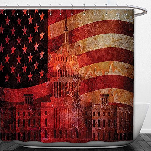 Beshowere Shower Curtain American Flag Decor Washington Capital Monument White House Republican Congress Senate Print Multi