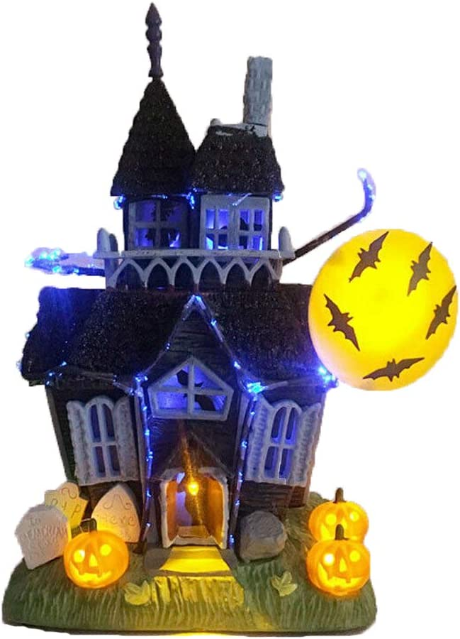 AMILIEe 9 Inch Halloween The Haunted Lit House with Flashing Lights & Sound Motion Sensor, Bat Pumpkin Tombstone Mini LED Light-up Haunted Halloween Ghost House Tabletop Decoration (Grey, 1)