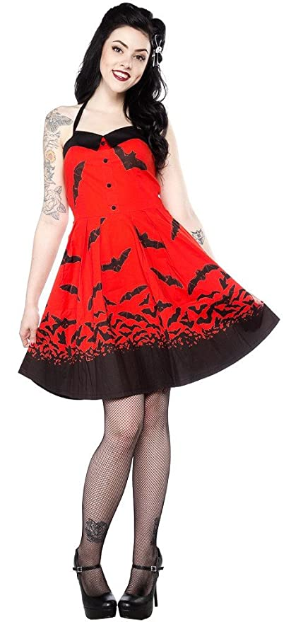 Vintage Retro Halloween Themed Clothing Sourpuss Spooksville Bats Dress Red $48.00 AT vintagedancer.com