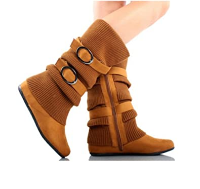 Women's Dual Buckle Warm Sweater Boots in Black Brown Red Tan Gray