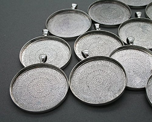 - 20 Pack Large Round Antique Silver Pendant Trays 38mm or 1 1/2 Inches Bonus EZ Photo Jewelry Resizer Software