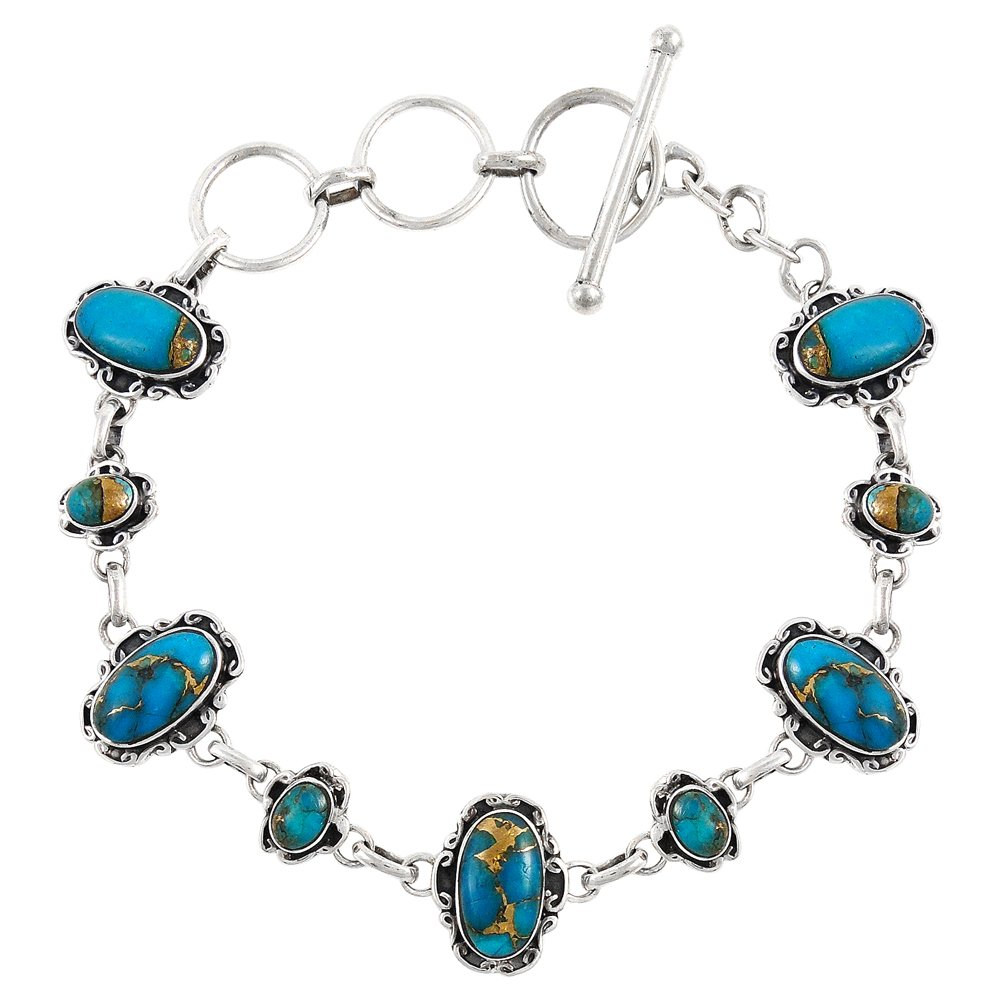 Turquoise Link Bracelet Sterling Silver 925 Genuine Turquoise & Gemstones Turquoise Network B5560-C71