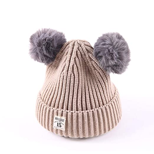 Cute Baby Beanie Hats for Boys Girls Cap Cotton Letter Knitted Ball Warm  Children Hats ( 93ffaf657f4