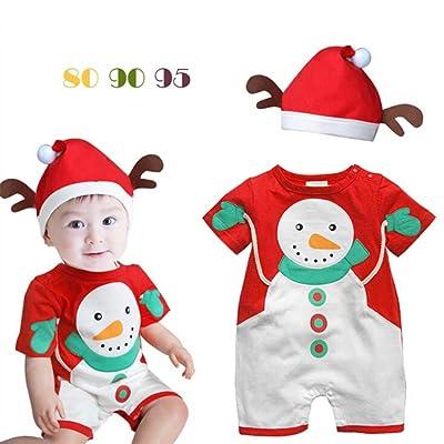 Ensemble de Bébé 2pcs - Unisex Vêtements Combinaison à Manches Courte + Chapeau Bonhomme Neige Costume Outfits