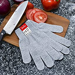 Cut Resistant Gloves 2 PAIRS Pack, EN388 Level 5 Cut Proof Gloves, Food Grade Kitchen Gloves, For Kitchen, Repair, Outdoor and Yard work Hand Protection (Medium)