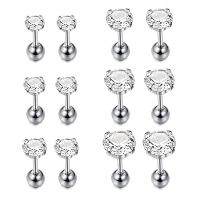 d03d02372 Amazon.com: D.Bella 6-8 Pairs 18G Stainless Steel Ear Stud Piercing Tragus  Barbell Studs Earrings Clear Round Cubic Zirconia Inlaid: Jewelry