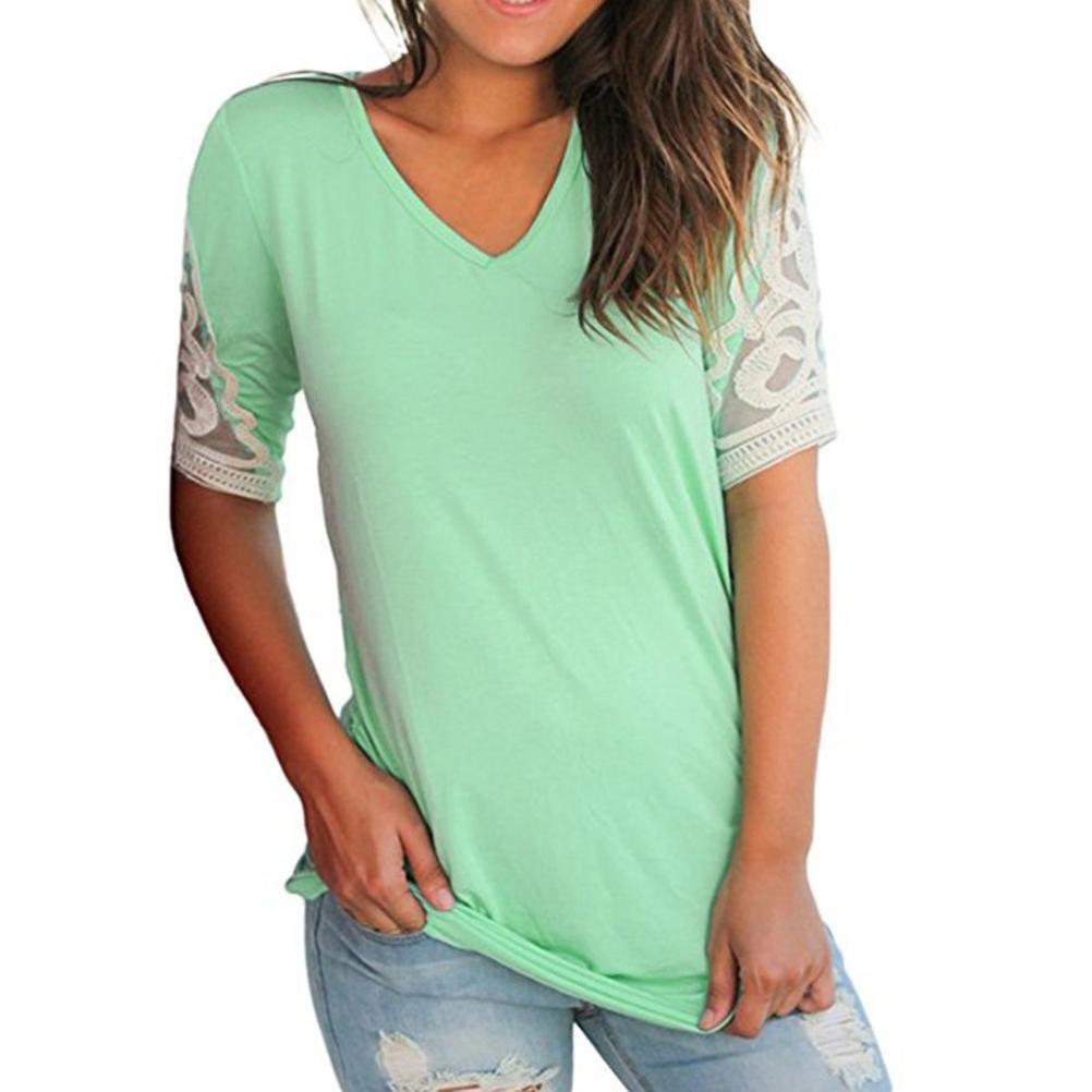 AOJIAN T Shirt Blouse Women Short Sleeve Crochet Ruched Tops Fashion 2018 Green at Amazon Womens Clothing store:
