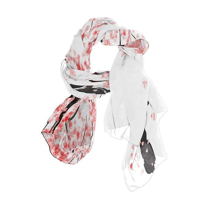 6e5d42fdb1e Use4 Japanese Cherry Tree Blossom Chiffon Silk Long Scarf Shawl Wrap ...