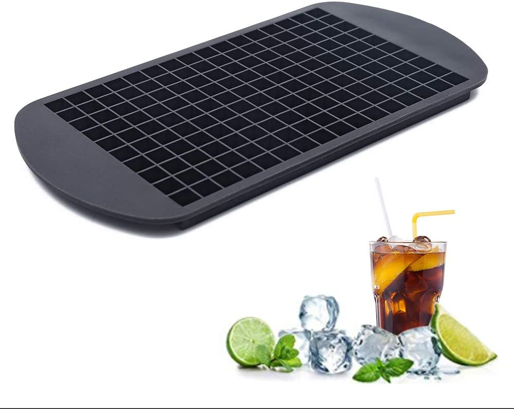 TheirNear Silicone Ice Cube Tray, 160 Grids Mini Ice Cube Tray for Whiskey, 1 cm Tiny Ice Cubes for Fruit Salad, Cocktail, and Other DIY Summer Drinks (Black)