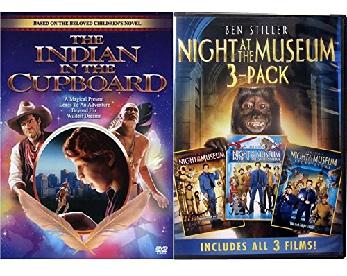 Night at the Museum + Battle of the Smithsonian / Secret of the Tomb 1/2/3 Trilogy DVD & Indian in the Cupboards Set Family Animal Cowboys T-Rex Fun 4 Movies