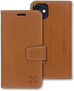 SafeSleeve EMF Protection Anti Radiation iPhone Case: iPhone 12 and iPhone 12 Pro RFID EMF Blocking Wallet Cell Phone Case (Leather)