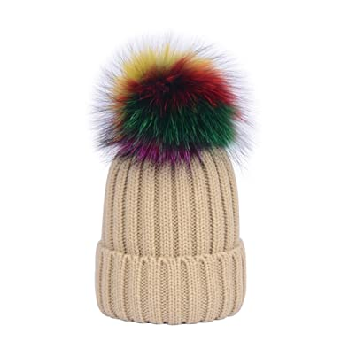 Youngsoul Womens Ribbed Knit Winter Bobble Hat Beanie With Multicoloured  Faux Fur Pom Pom Dark Beige 4110984da7f