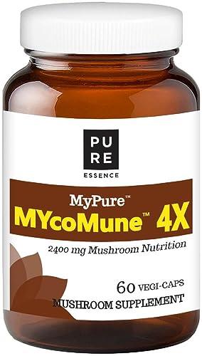 MYcoMune 4X Organic Mushroom Supplement – Reishi, Lion s Mane, Cordyceps, Chaga, Shiitake, Maitake for Immune System, Combat Stress, Build Energy by Pure Essence – 60 Caps