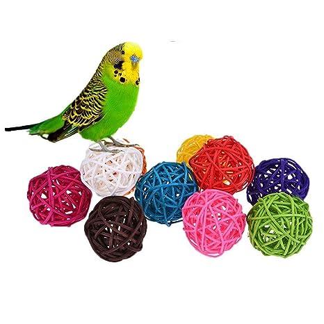 10 bolas de ratán, juguete para pájaros como loros, pericos ...
