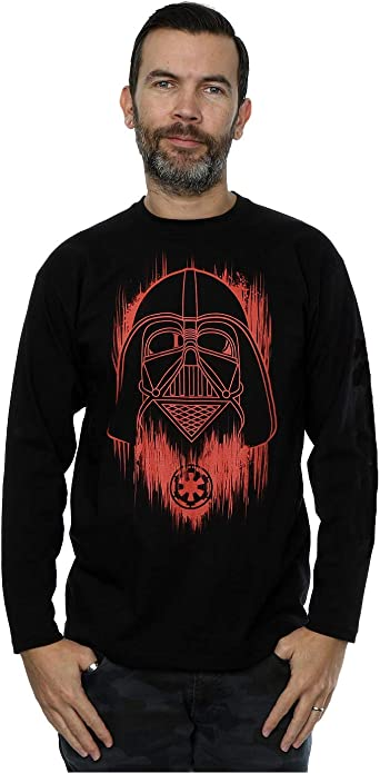 Star Wars Hombre Rogue One Vader Red Paint Manga Larga de la Camiseta: Amazon.es: Ropa y accesorios