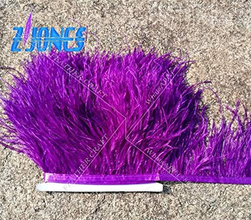 Maslin Leather Pink Color Ostrich Feather Trims 10yards/lot Dyed Ostrich Feather Ribbons /10-15cm Ostrich Feather Fringes - (Color: Purple)