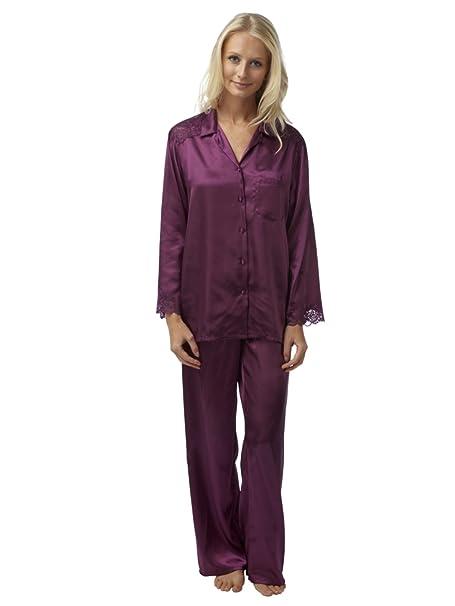 SaneShoppe - Pijama - Básico - con botones - Manga Larga - para mujer morado ciruela