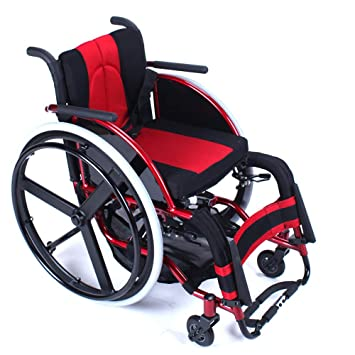 QETU Rueda Deportiva Rueda Trasera Plegable Ligera Aleación de Aluminio portátil Silla de Ruedas para discapacitados