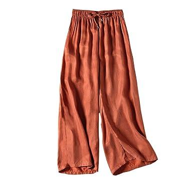 bddc3fcd5f2 CG Women s Elastic Casual Waist Palazzo Trouser Plus Size Wide Leg Boho  Linen Cropped Pants T1