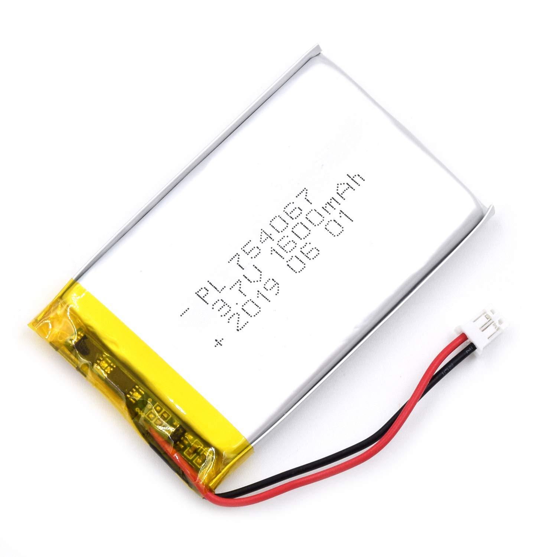 Bateria Lipo 3.7V 1600mAh 754067 Recargable JST Conector