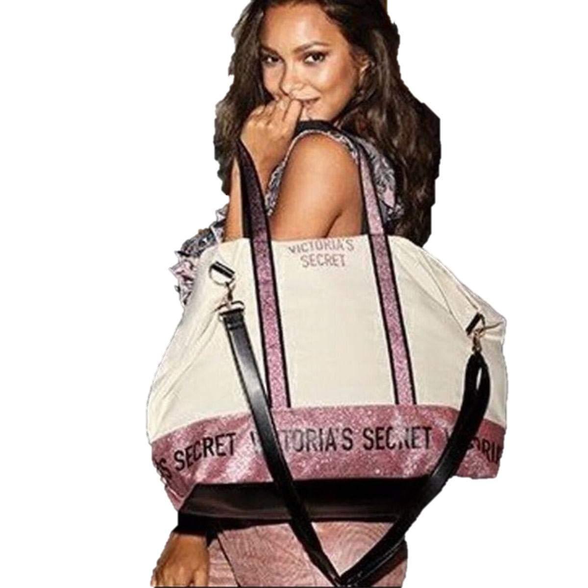 Victoria's Secret Tote Bag Weekender Purple Sparkle Color Ivory Extra Large