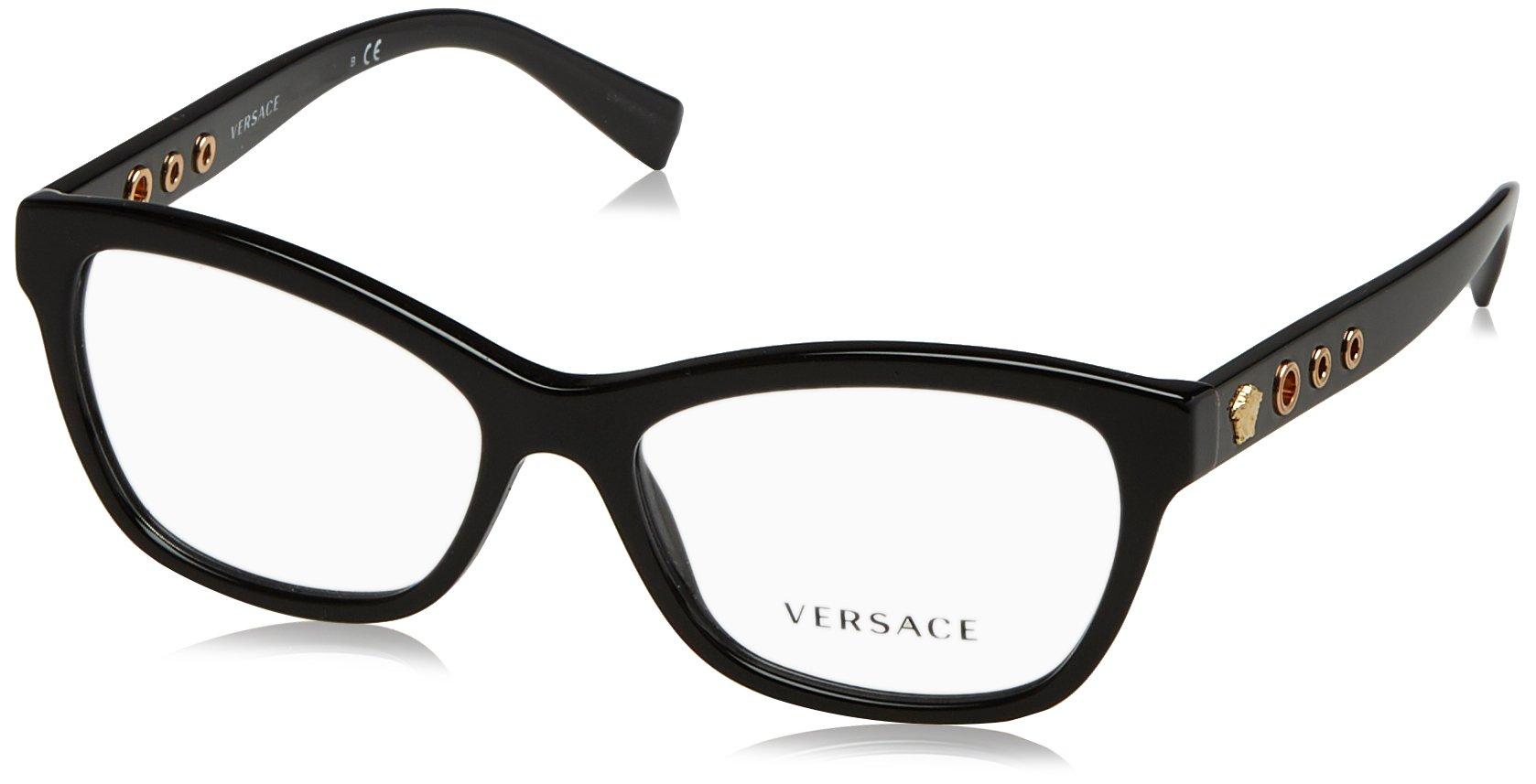 Versace VE3225 Eyeglass Frames GB1-54 - 54mm Lens Diameter Black VE3225-GB1-54 by Versace
