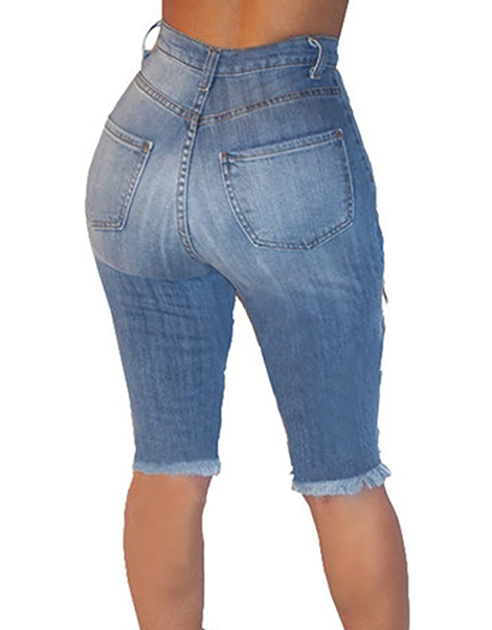 316a0b6d6 Universalgoods Womens Casual Denim Destroyed Bermuda Shorts Jeans Ripped  Knee Length at Amazon Women's Clothing store: