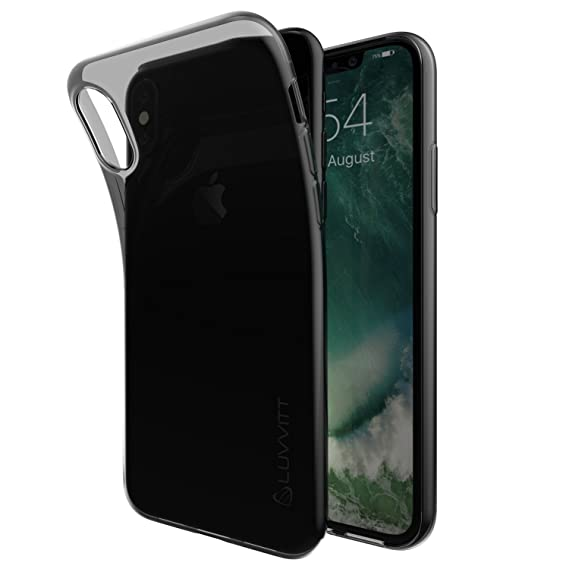 online retailer 6c487 175c3 iPhone Xs/X Case, Luvvitt Clarity Back Cover with Light and Slim Flexible  TPU Rubber Protection for iPhone Xs/X (2017-2018) - Transparent Black