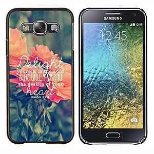 Caucho caso de Shell duro de la cubierta de accesorios de protección BY RAYDREAMMM - Samsung Galaxy E5 E500 - deleita amor texto dios melocotón verde primavera