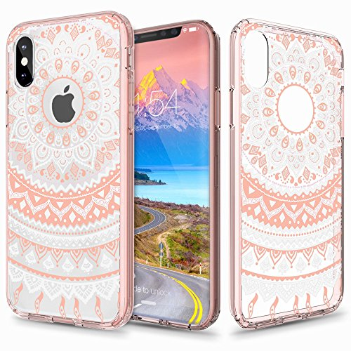 Price comparison product image iPhone X Case, Aisikasi Mandala Totem Series Design Clear Hybrid Protective Case with Soft TPU Bumper + Hard Back Cover [Scratch Resistant] Cover Case for iPhone X (Pink)