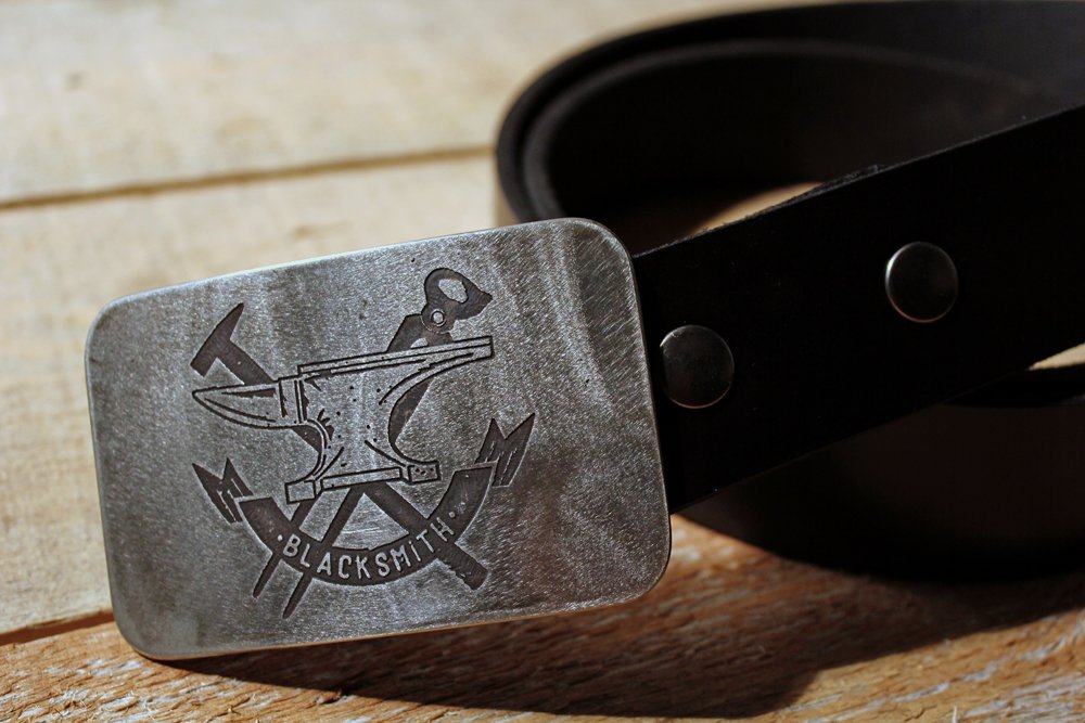 Blacksmith - ANVIL - Etched Metal Belt Buckle Anvil