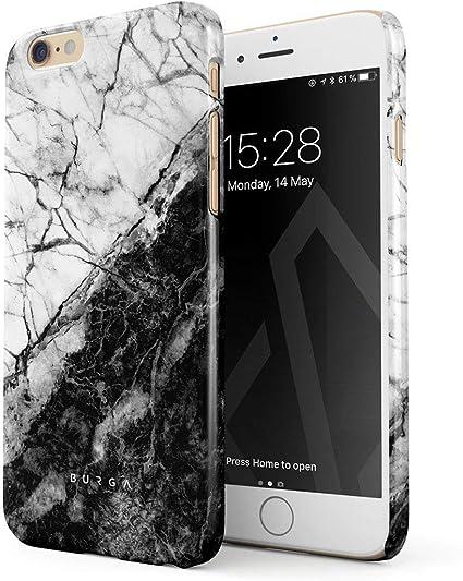 BURGA Cover per iPhone 6 / 6s - Marmo Nero e Bianco Marmo Black And White Marble Yin And Yang Design Sottile Guscio Resistente in Plastica Dura ...