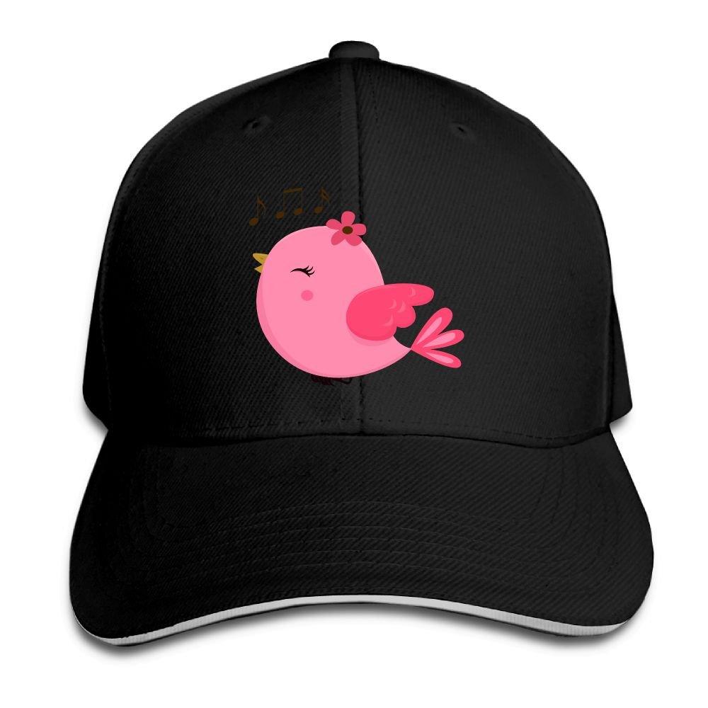 Teesofun Unisex Sandwich Peaked Cap Cute Pink Bird Music Adjustable Cotton Baseball Caps