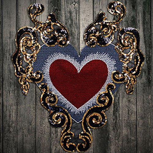 Beaded Gold Sequin Paillette Heart Pattern Patches Embroidery Applique Badges Clothes Decorated Craft Sewing 1piece