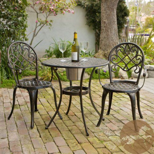 Cast Aluminum Patio Furniture: CHRISTOPHER KNIGHT HOME ANGELES 3-PC COPPER BISTRO TABLE/CHAIRS SET WITH ICE BUCKET for wine, chilled beverage or flower pot. For outdoors, yard, garden, deck, terrace, pool side.