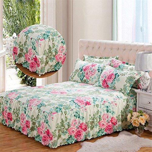 Bloom Bedskirt (Romantic Bloom Pattern Bed Skirt Matte Non-slip Sanding Bedspread Fit Cotton Queen Sheet Dust Ruffle Mattress Cover)