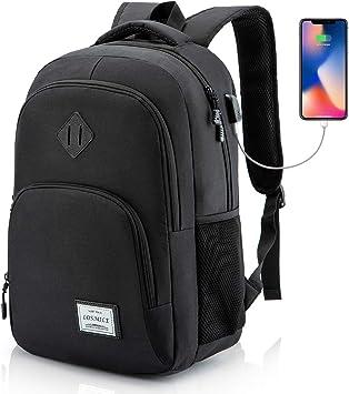 LOSMILE Mochila Portatil para Hombre Mochilas Escolares Juveniles con Puerto de Carga USB Resistente Al Agua Bolsa de Viaje Trabajo Daypacks 15.6