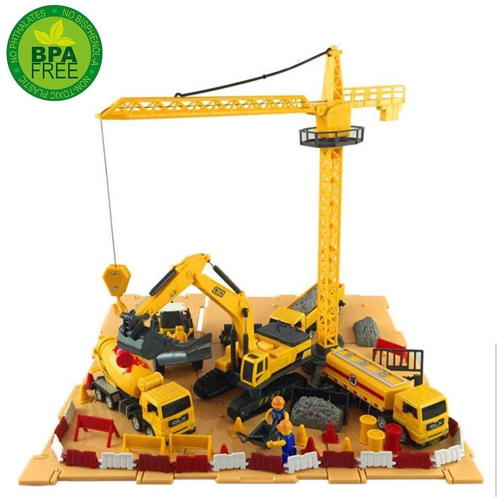 Engineering Construction Vehicles and Construction Site Set with Storage Container, 6 Vehicles - Tower Crane, Cement Truck, Excavator, Road Roller, Dump Truck and Fuel Carrier Delectation