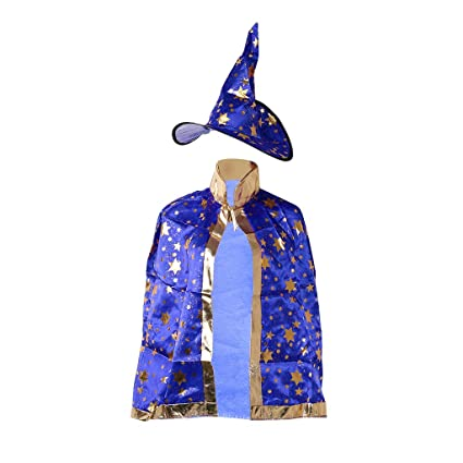 Lamdoo bambini costume di Halloween strega guidata mantello vestaglia  cappello stelle Cosplay 8a0f219bf412