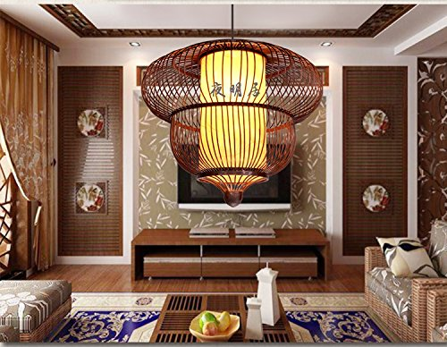 Chinese Restaurant Tea House Bamboo Lighting Southeast Asian Thai Hotpot Bar Living Room Pendant light LO1101008PY ( Size : D50CM ) by Super PP