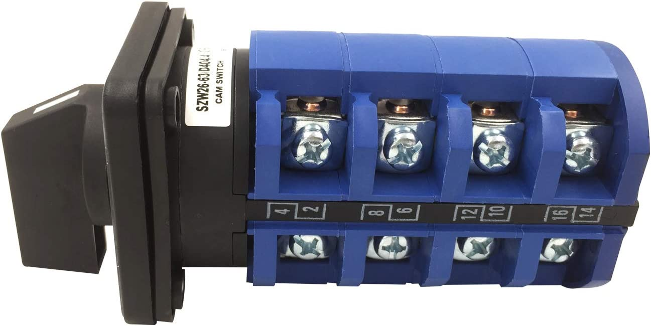 fivekim //Électrique 2,3,4 Position 8 Terminals Rotary Cam Switchover Switch 660V 20A Power Supply Blue