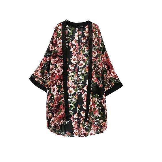 Kemilove Women Floral Printed Sheer Chiffon Kimono Cardigan Black ...