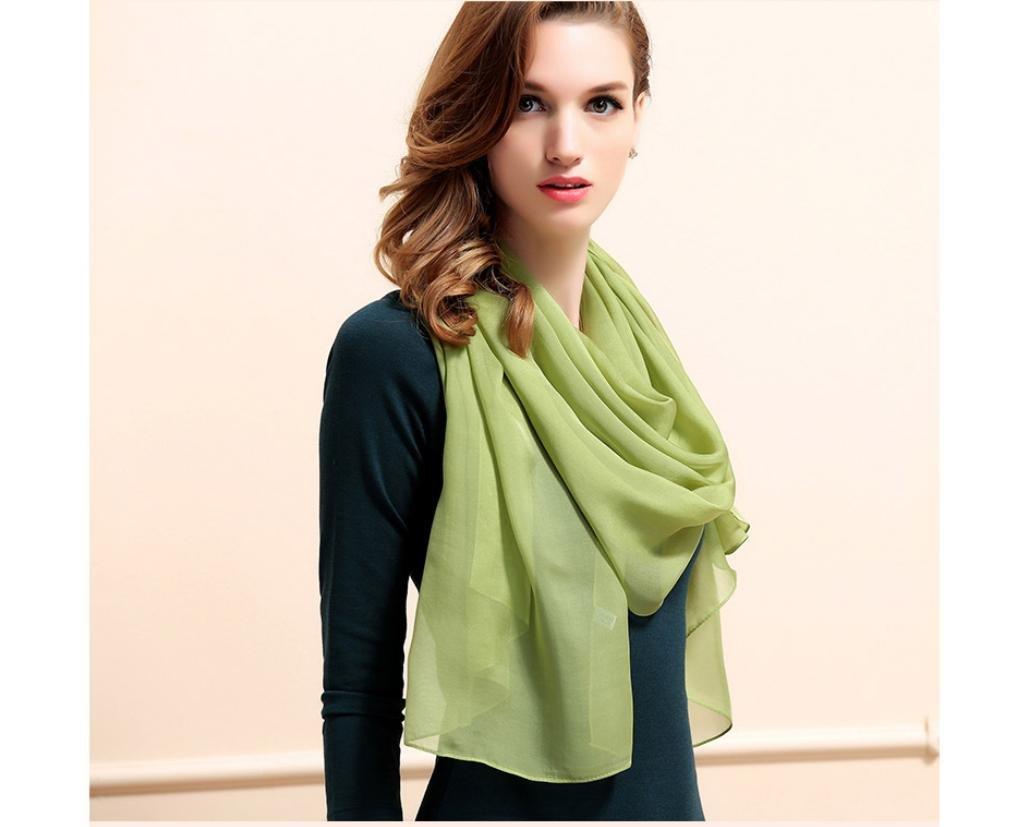 XYLUCKY Otoño/invierno chales de lujo luz de mujer color sólido bufanda de seda , e