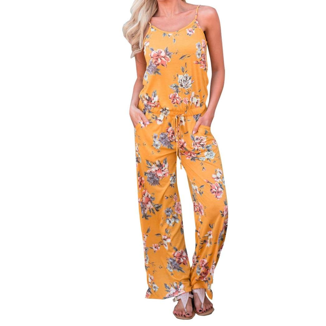 Alixyz Women's Spaghetti Strap Jumpsuit, Casual Floral Printed Long Playsuit Trousers