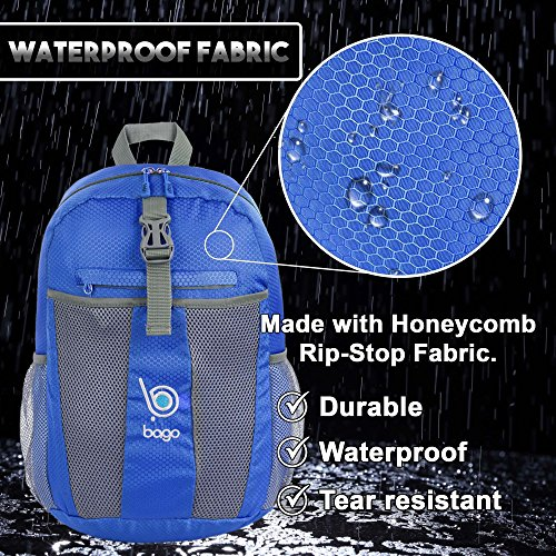 Bago Lightweight Backpack. Water Resistant Collapsible Rucksack for Travel and Sports. Foldable and Packable Daypack for Adults, Men and Women, Teens and Children (DeepBlue)